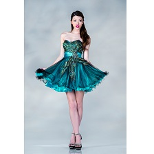 Teal Peacock Feather Chiffon Short Prom Dress